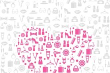 Love shopping seamless background