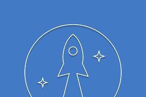 Rocket startup line art poster