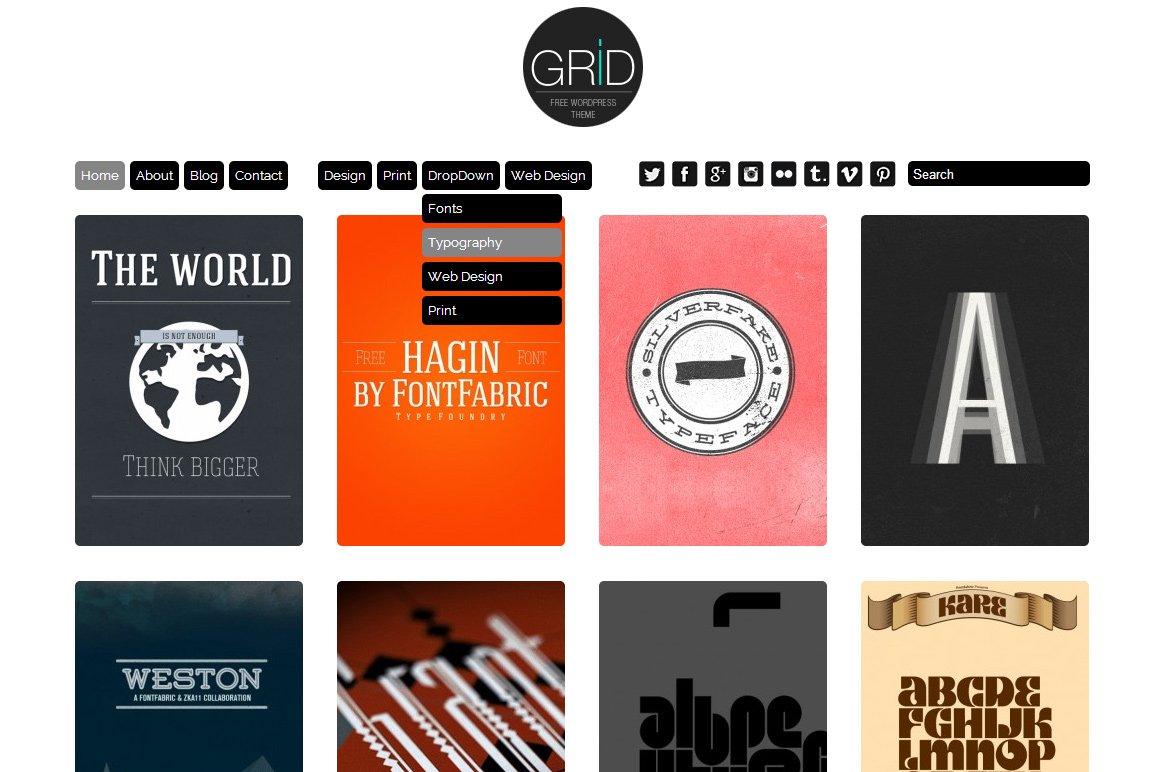 Grid Theme Responsive Wordpress Wordpress Themes Creative Market