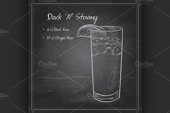 Cocktail Dark 'N' Stormy - Illustrations