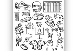 Hand drawn American Football element