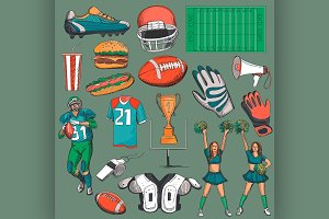 Hand drawn American Football
