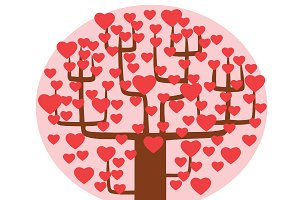Tree with hearts instead of leaves