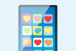 Smartphone with multi-colored hearts