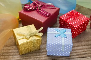 gift boxes and colorful balloons