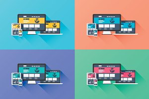 Flat web development vector icons