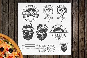 Vintage pizzeria logos and elements