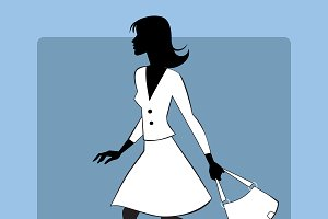 Silhouette icon modern young woman