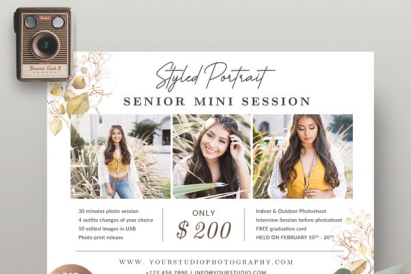 Senior Mini Session Template MS054
