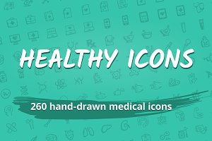 260 hand-drawn medical icons