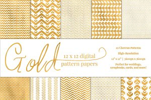 Gold Chevron Pattern Paper