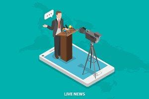 Live news isometric concept