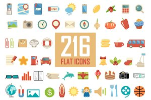 Set from 216 flat icons.