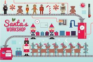 santa's workshop illustration/vector