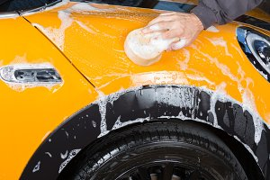 Car washing with soap