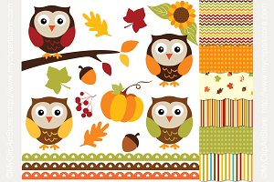 35% OFF Autumn Owls Design Bundle