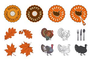 Thanksgiving Day design elements