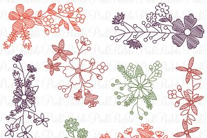 Doodle Flowers Photoshop Brushes