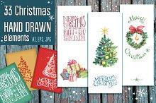 Hand drawn Christmas vector set
