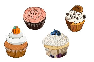 Set of 4 doodle cupcakes in vector