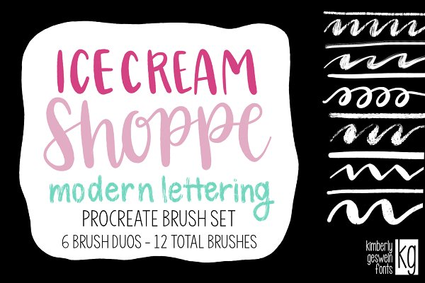 Ice Cream Shoppe Brush Lettering Set