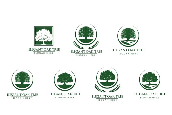 Green oak tree logo vol 3 in Logo Templates