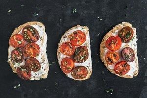 Ricotta and cherry-tomato sandwiches