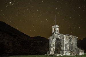 Chapel and stars at night