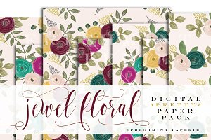 watercolor floral paper pack