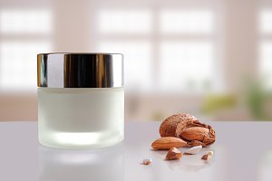 Almond moisturizer cream jar closed