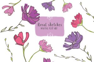 Floral Sketches - Floral Clip Art