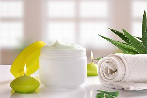 Aloe cream with windows background