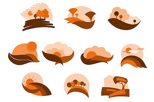 Autumnal nature icons and symbols
