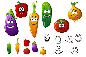 Cartoon vegetables with funny emotio