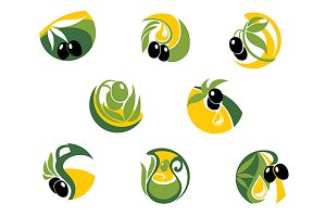 Green and black olives elements