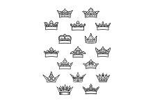 Heraldic king and queen crowns set