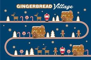 gingerbread village vector