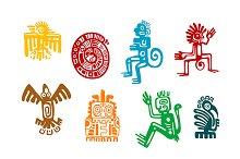 Abstract maya and aztec art symbols
