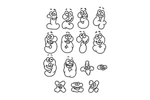 Cartoon digits and numbers set