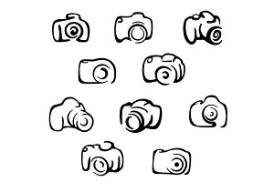 Camera icons and symbols set