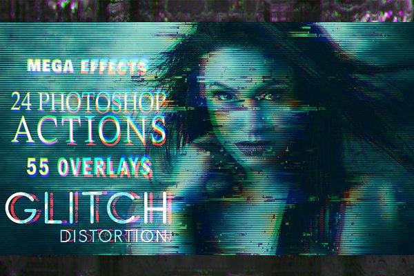 55 Glitch Effects Overlays, bundle