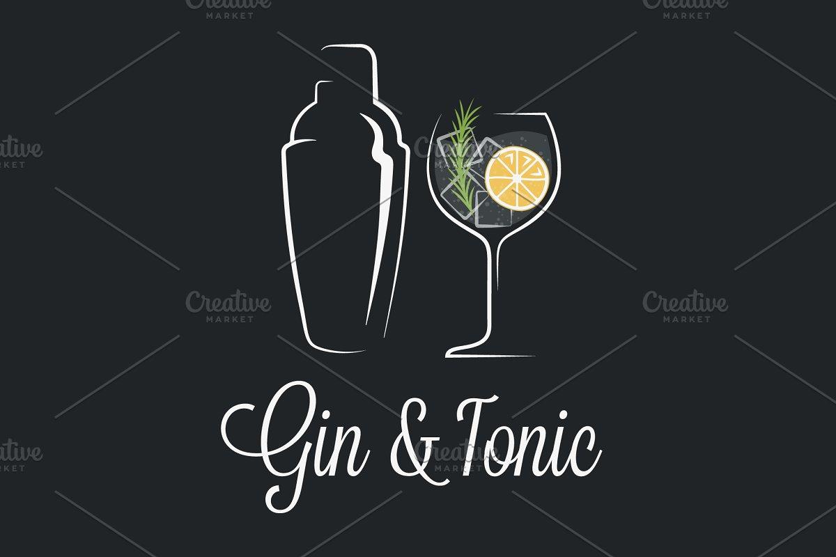 Gin tonic cocktail logo.