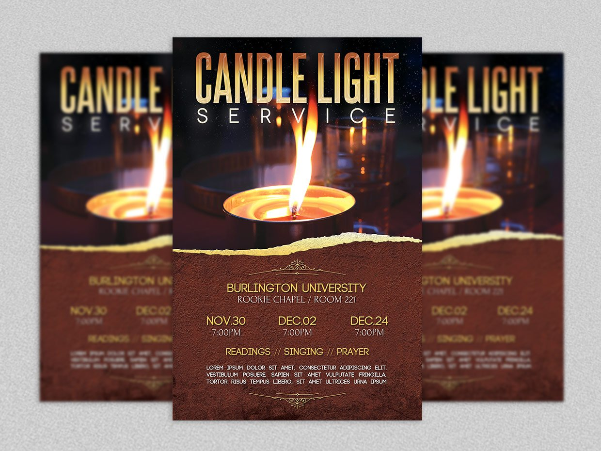 candle light service flyer template flyer templates creative market