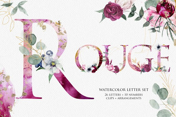Winter Floral Alphabet Letter