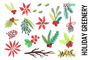 Holiday Greenery Watercolors