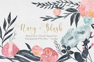 Navy + Blush Watercolor Clipart Set