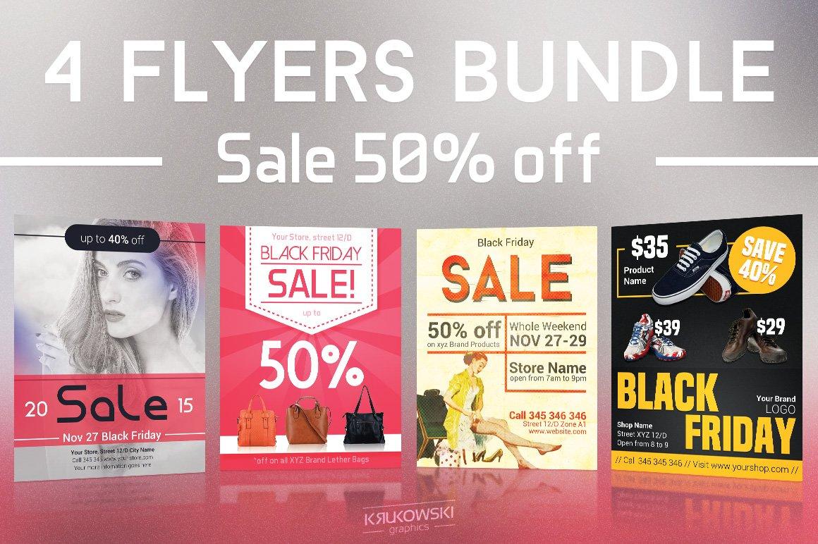 black friday sales flyers bundle ii flyer templates creative market