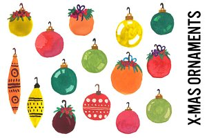 Christmas Ornaments Watercolors