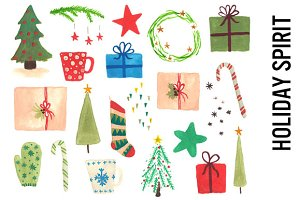 Holiday Spirit Watercolor Clipart