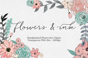 Watercolor & Ink Floral Clipart Set